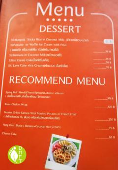 Cafe del Sunshine Lonely Beach Speisekarte Nachtisch